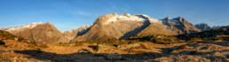 Vue panoramique sur le plateau avant de voir le glacier d'Aletsch depuis Rideralp-Moosfluh. Valais, Suisse